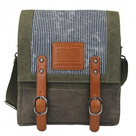 LICENCE 71195 Jumper Canvas Vertical Messenger Bag, Khaki